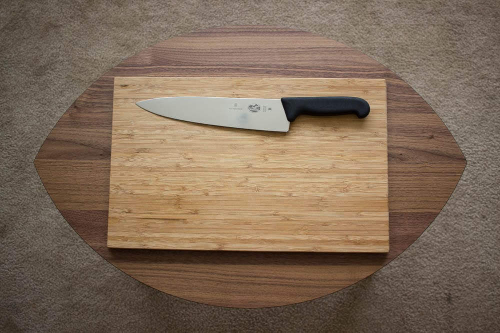 A cutting board and (sharp!) knife